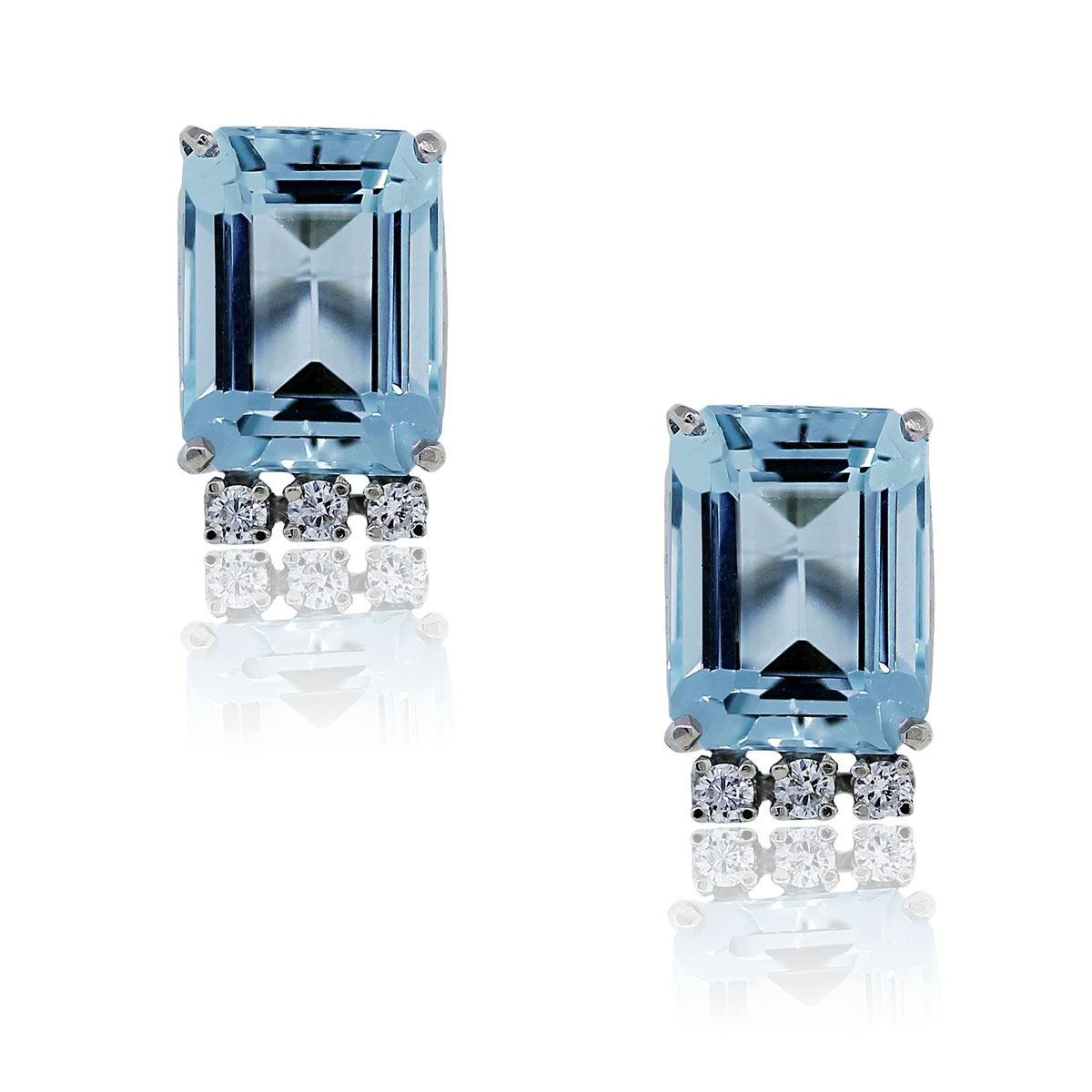 You are viewing these Aquamarine Emerald Cut and Diamond Earrings in 14k White Gold!