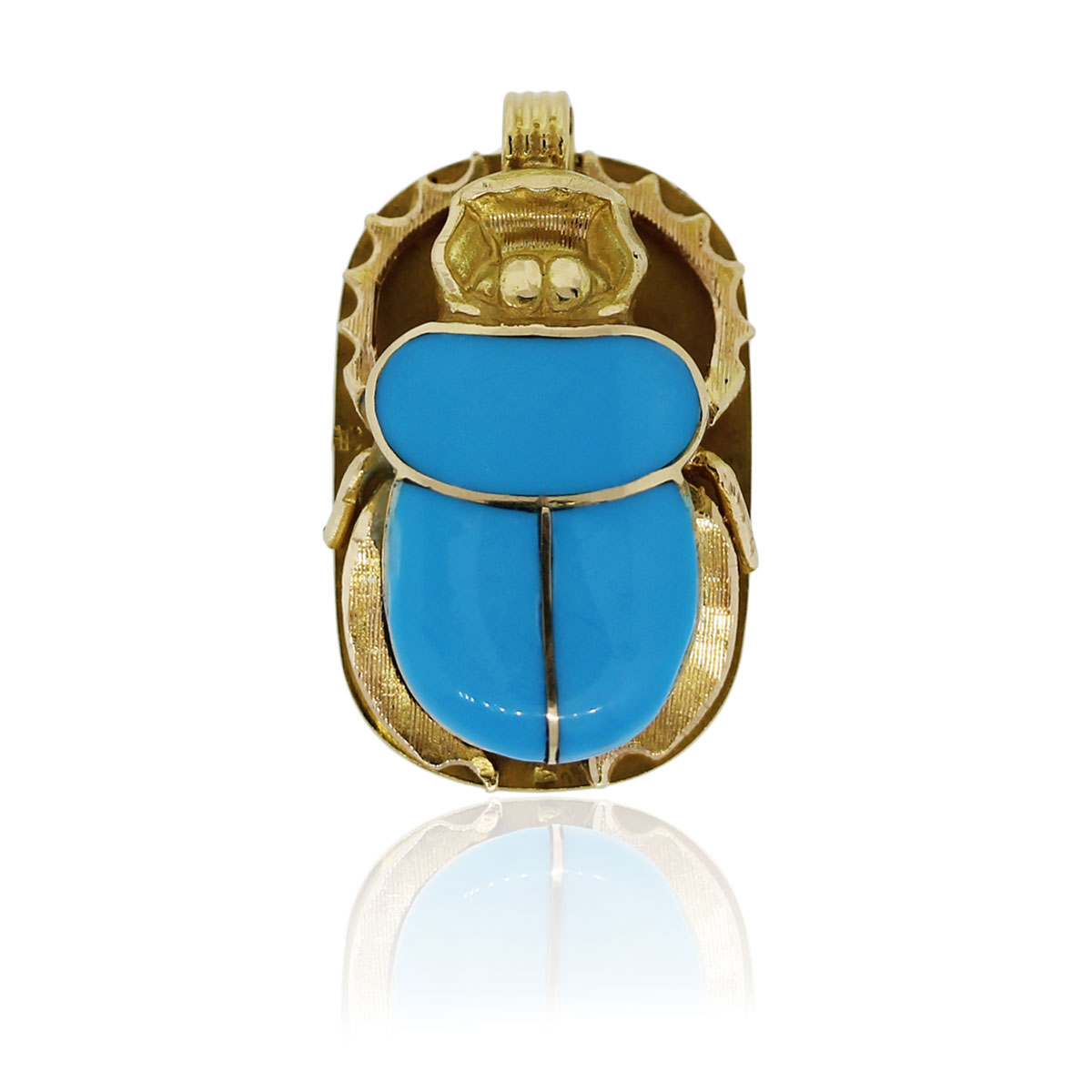 You are viewing this 22k Yellow Gold Turquoise Scarab Pendant!