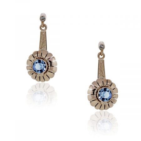 You are viewing these 14k Rose Gold Blue Topaz Drop Dangle Earrings!