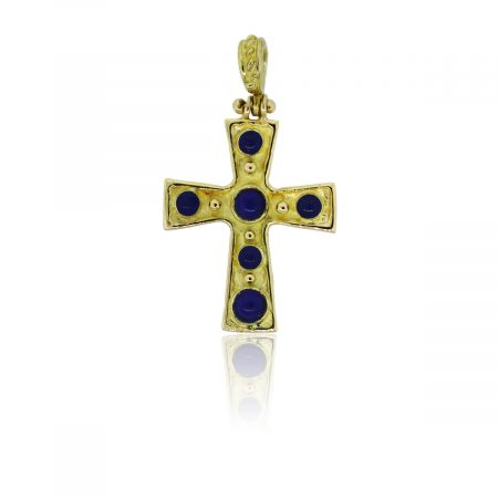 You are viewing this 18k Yellow Gold Cabochon Lapis Enamel Cross Pendant!