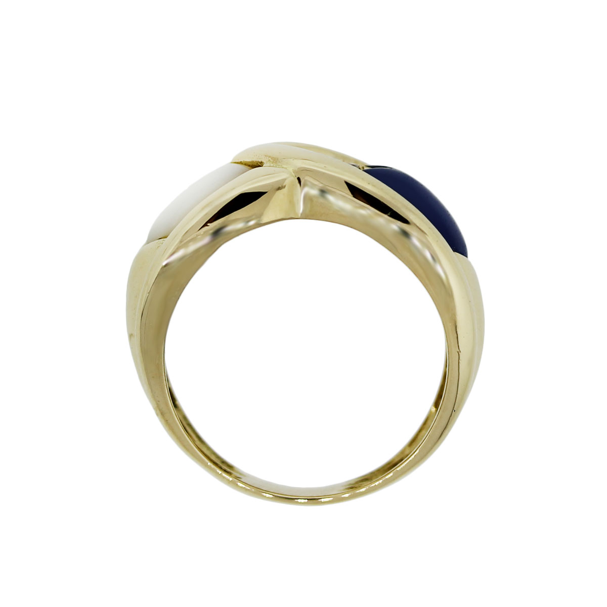 Yellow Gold Mother of Pearl Lapis Diamond Cocktail Ring
