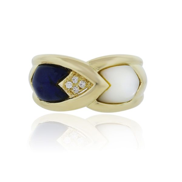 You are viewing this 18k Yellow Gold Mother of Pearl Lapis Diamond Cocktail Ring!