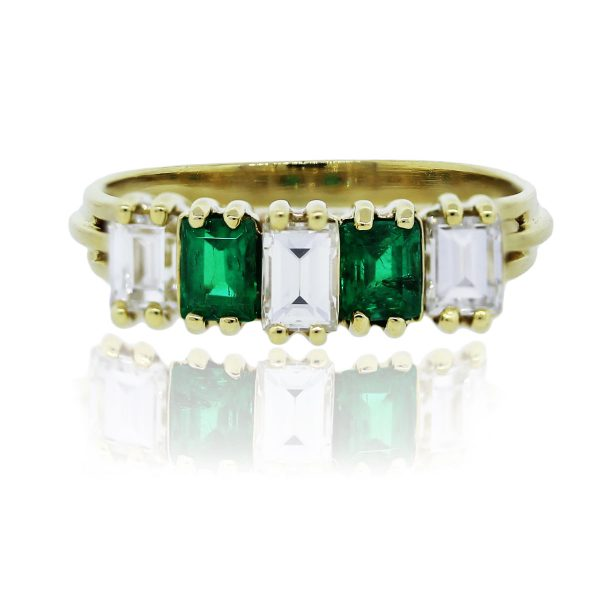 You are viewing this 18K Yellow Gold Diamond Emerald Ring!