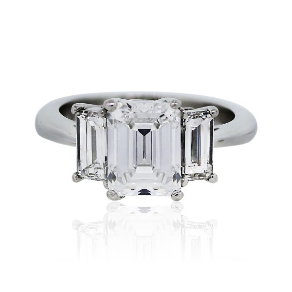 You are viewing this 3.45 Carat Emerald Cut Diamond GIA Certified Engagement Ring!