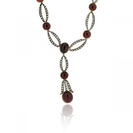 You are viewing this Vintage 18K Yellow Gold Seed Pearl Cabochon Garnet Necklace!