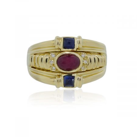 You are viewing this 18k Yellow Gold Cabochon Ruby Princess Cut Sapphire Diamond Ring!