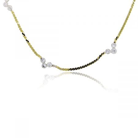 You are viewing this 14K Yellow Gold Diamond Station Ladies Necklace!