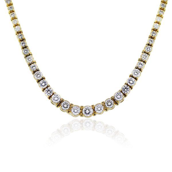 You are viewing this 18k Yellow Gold 10 Carat Diamond Riviera Tennis Necklace!
