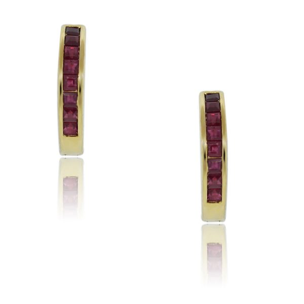You are viewing these 18K Yellow Gold Princess Cut Ruby Huggie Earrings!