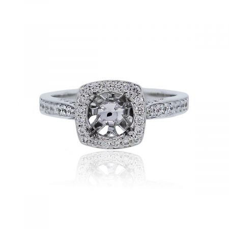 You are viewing this 18k White Gold 0.34ctw of Diamonds Halo Set Engagement Ring Mounting!