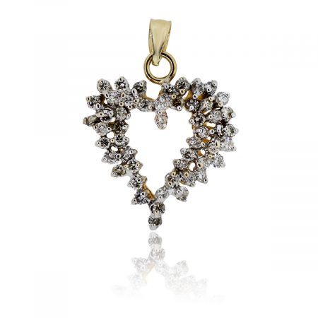 You are viewing this 14K Yellow Gold and Diamonds Heart Slide Pendant!