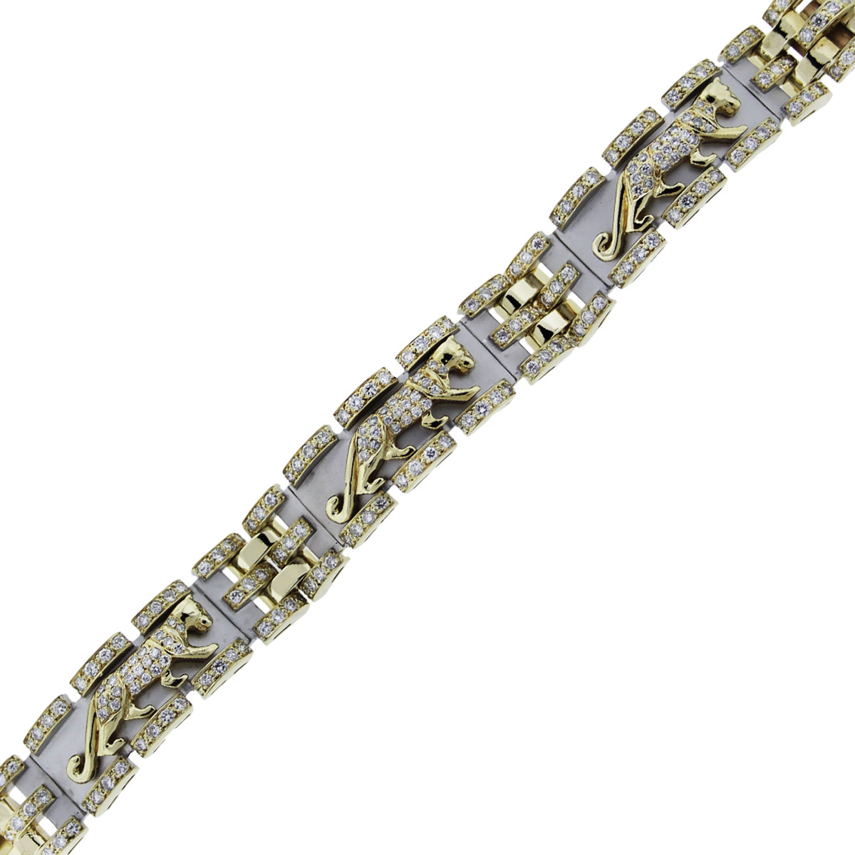 You are viewing this 18k Two Tone Gold and Diamond Panther Design Bracelet!