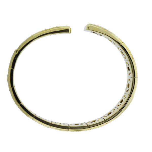 18k Two Tone Gold and Diamond Panther Bangle Bracelet