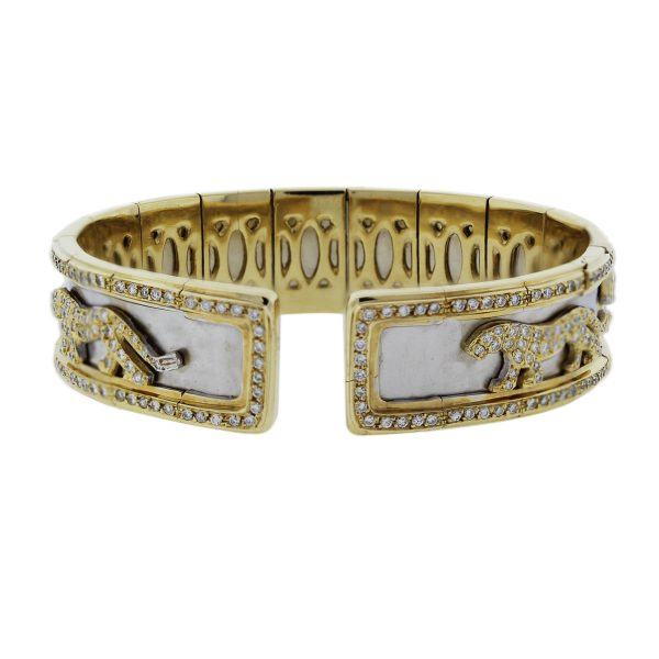 Two Tone Gold and Diamond Panther Design Bangle Braceletv