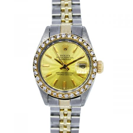 You are viewing this Rolex Datejust 6917 Two Tone Diamond Bezel Ladies Watch!