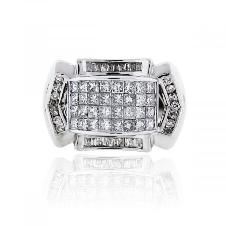 You are viewing this 14K White Gold Diamond Square Grid Signet Mens Ring!