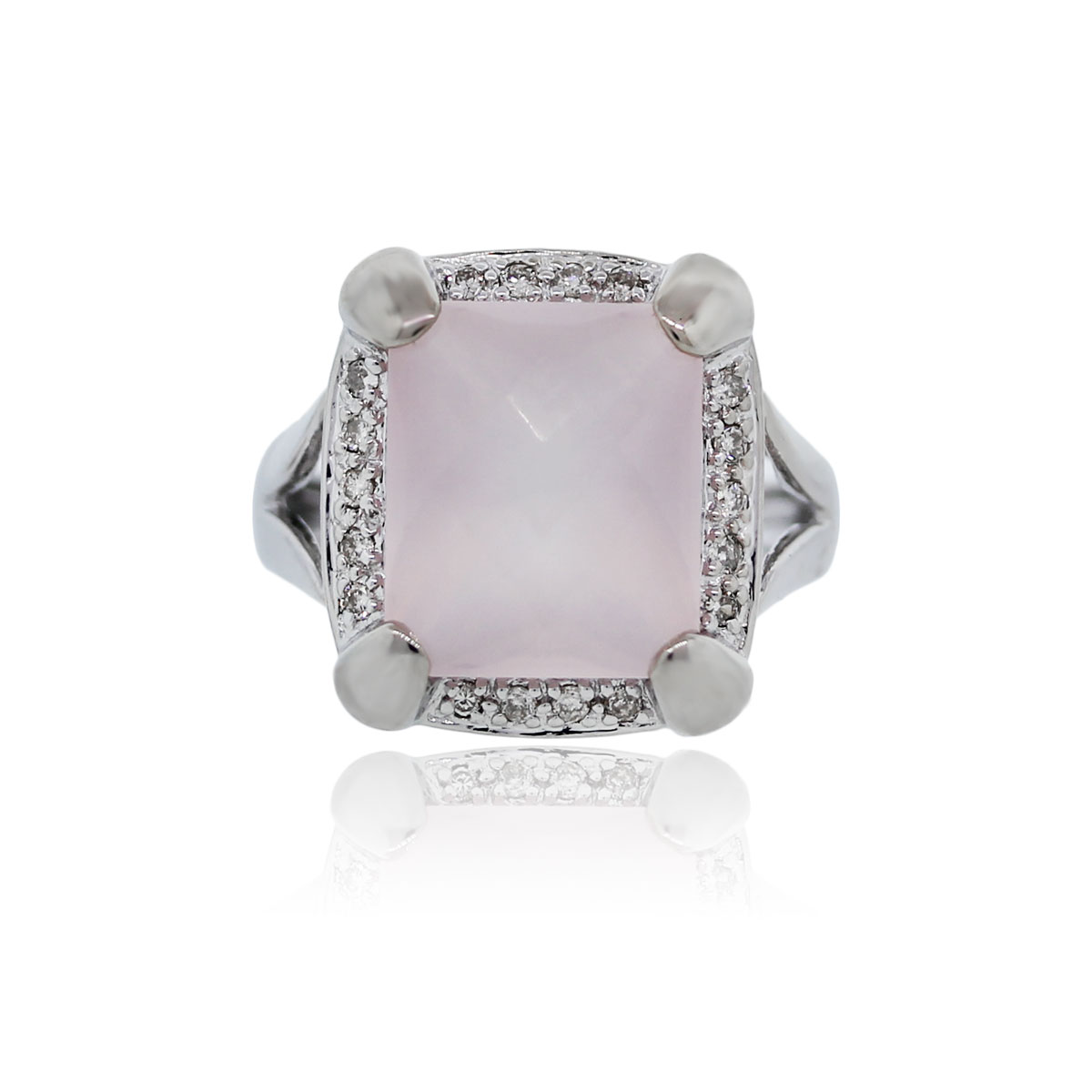 You are viewing this 14K White Gold Checkered Rose Quartz Diamond Cocktail Ring!