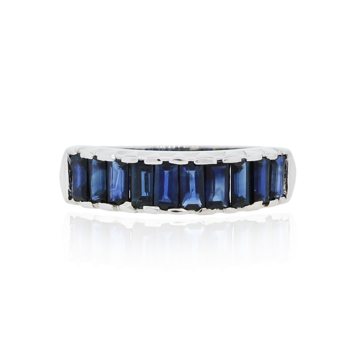 You are viewing this Platinum Baguette Sapphire Ring!