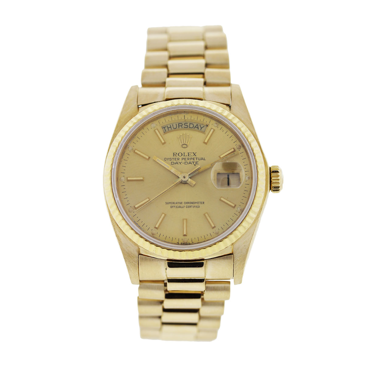 Rolex Presidential Day Date 18038 Yellow Gold Watch - Boca ...
