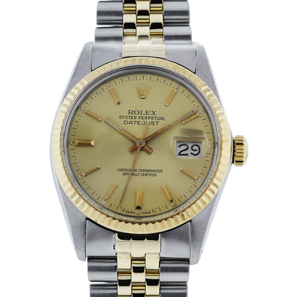 You are viewing this Rolex Datejust 16030 Champagne Dial Two Tone Mens Watch!