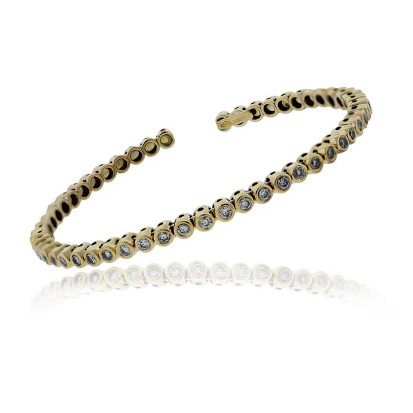 You are viewing this 18K Yellow Gold Diamond Open Bangle Bracelet!