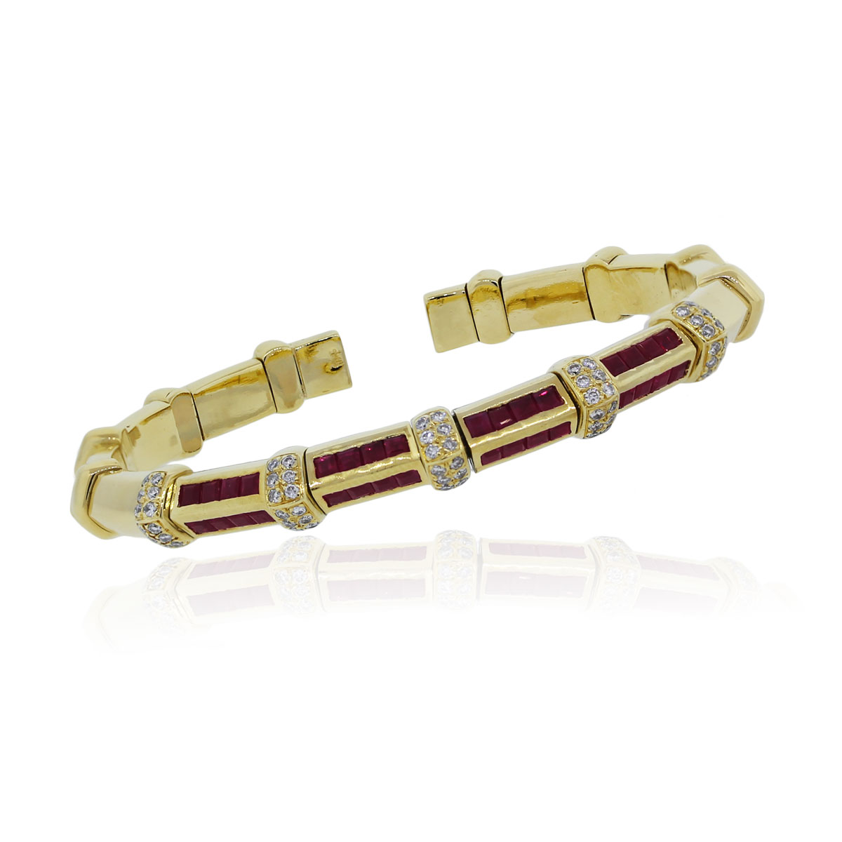 You are viewing this 18k Yellow Gold Diamond Princess Cut Ruby Bangle Bracelet!