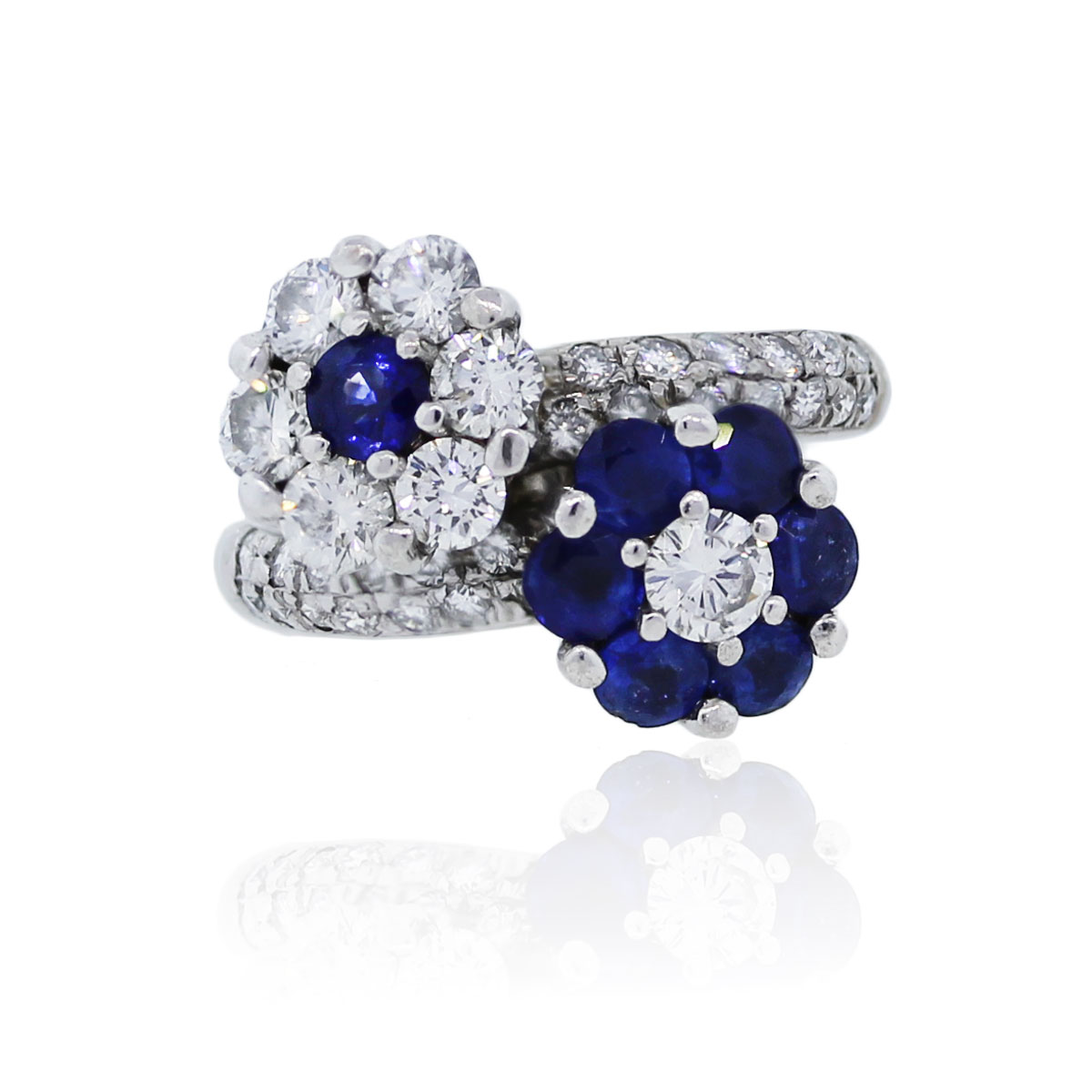 You are viewing this 18k White Gold Diamond Sapphire Flower Ring!