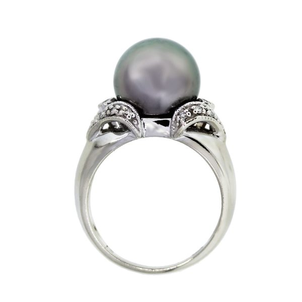 White Gold 11.40mm Grey Tahitian Pearl and Diamond Ring
