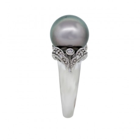 14K White Gold 11.40mm Grey Tahitian Pearl and Diamond Ring