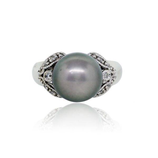 You are viewing this 14K White Gold 11.40mm Grey Tahitian Pearl and Diamond Ring!