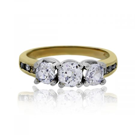 You are viewing this 14k Two Tone 3 Stone Diamond Engagement Ring!