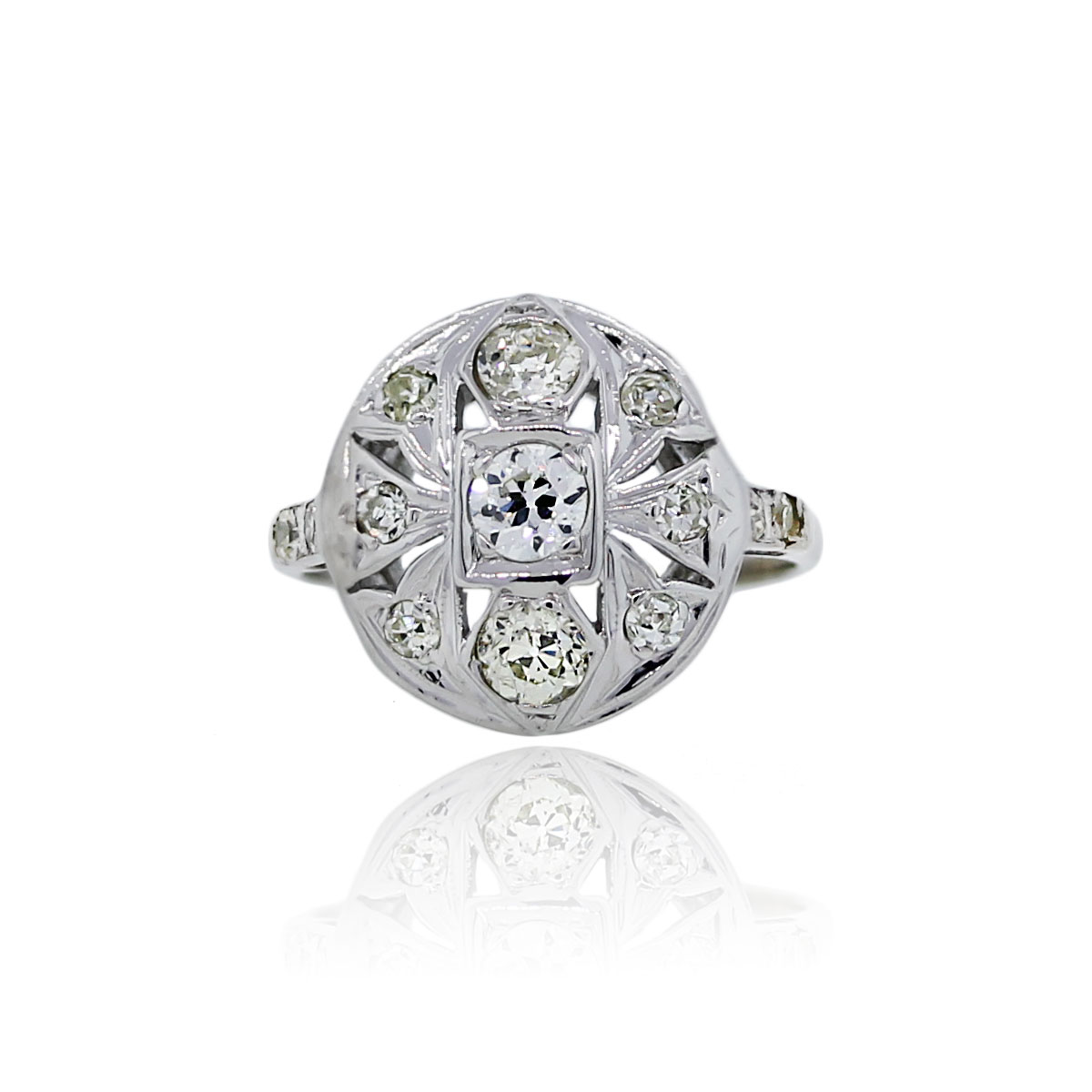 You are viewing this 14K White Gold Round Brilliant Diamond Ladies Vintage Ring!
