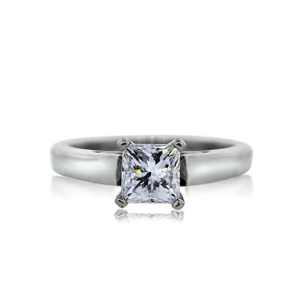 You are viewing this 14k White Gold Princess Cut EGL Engagement Wedding Band Ring!