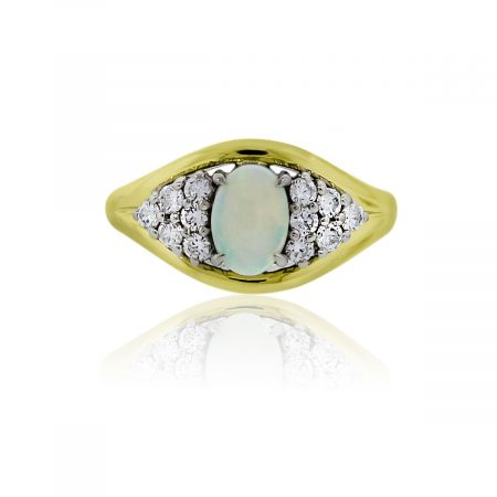 You are viewing this 14k Yellow Gold Cabochon Opal Diamond Cocktail Ring!