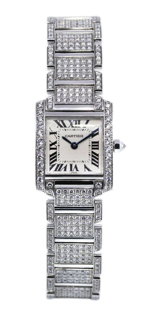 Cartier Tank Francaise 18k White Gold All Diamond Watch WE1002SD