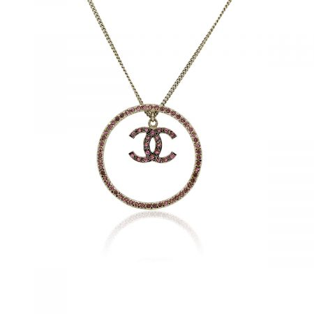 You are viewing this CHANEL Rose Crystal Pendant Necklace!