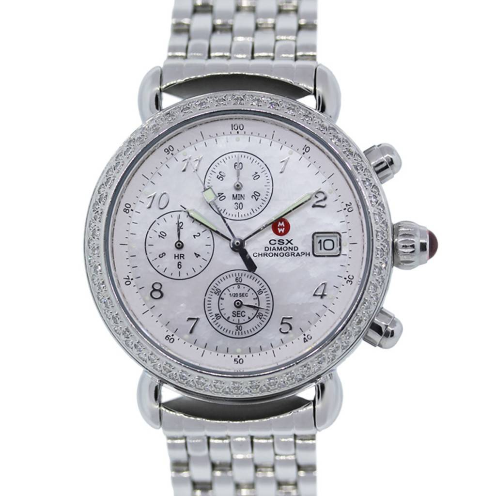 Michele Csx Diamond Chronograph Mother Of Pearl Dial Ladies Watch