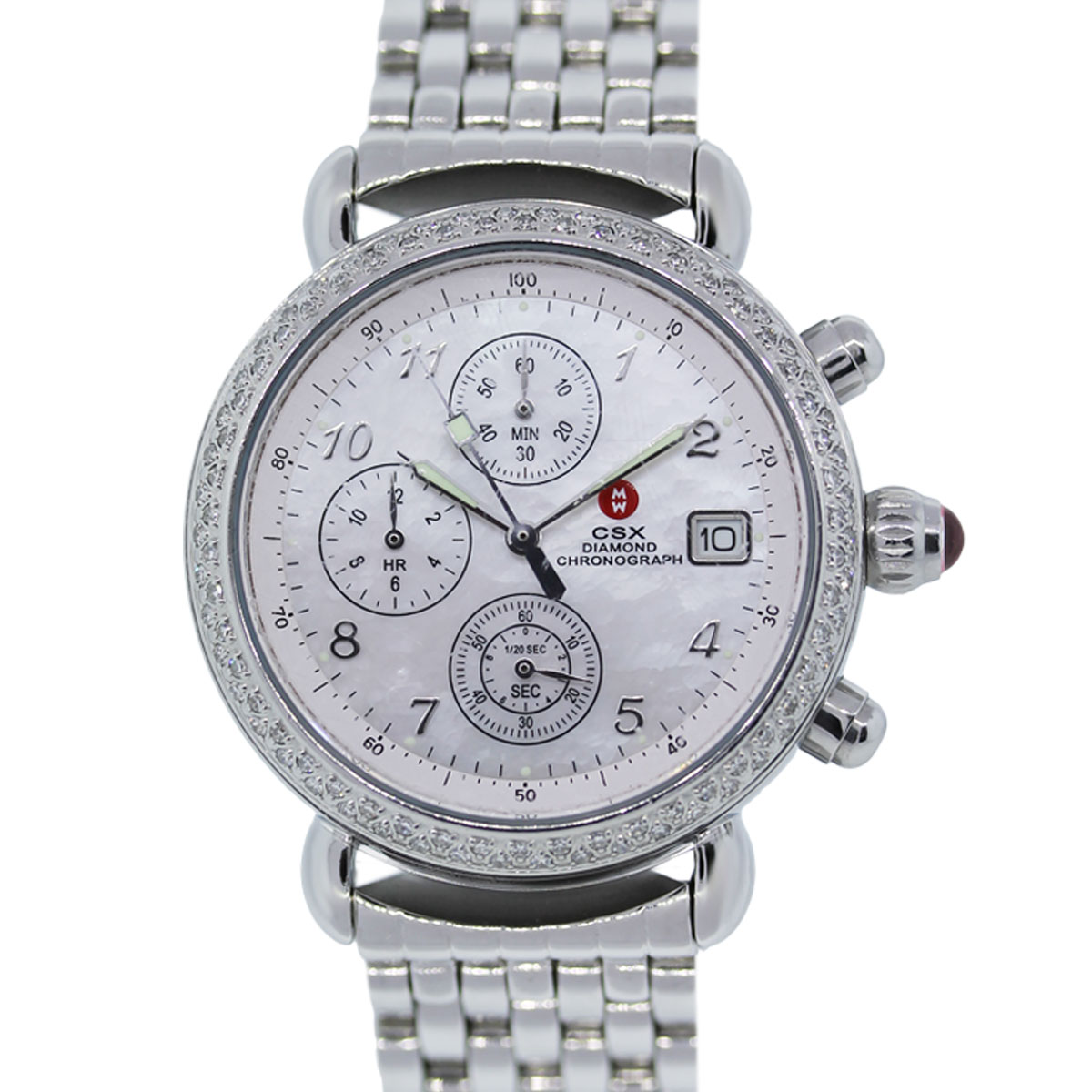You are viewing this Michele CSX Diamond Bezel Chronograph Mother of Pearl Dial Ladies Watch!