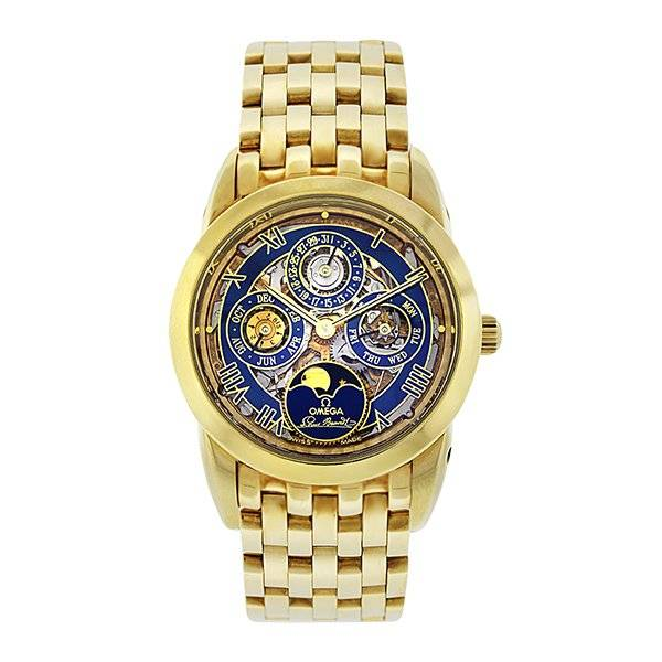 Omega Louis Brandt Very Rare Skeleton Dial 18k Yellow Gold Watch