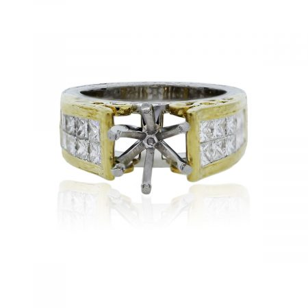 You are viewing this Platinum 18k Yellow Gold Princess Cut Diamond Wedding Band Mounting Ring!