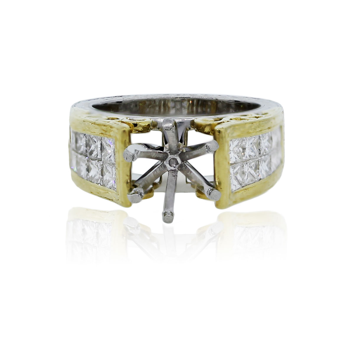 platinum 18k yellow gold princess cut wedding band