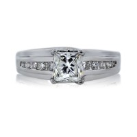 White Gold EGL Certified 0.90ct Princess Cut Diamond Engagement Ring