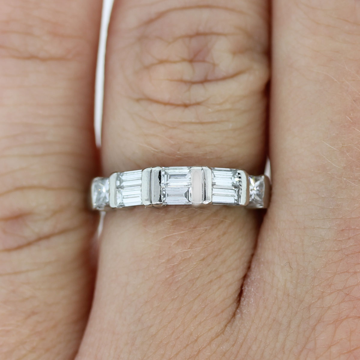 platinum princess cut baguette diamond wedding band ring