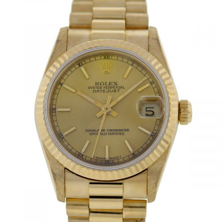 You are viewing this Rolex Datejust 68278 Midsize Presidential 18K Ladies Watch!