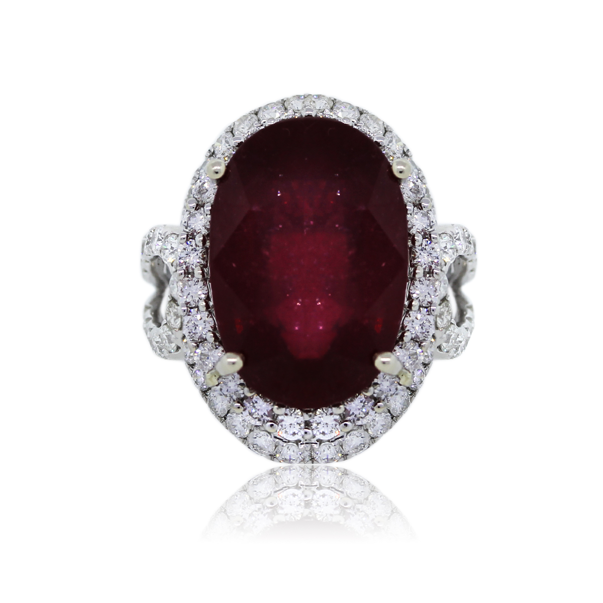 18k White Gold Glass Filled Ruby and Diamond Cocktail Ring