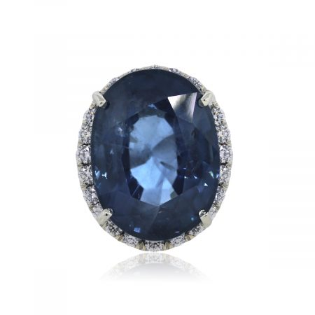 You are Viewing this Stunning Sapphire and Diamond Cocktail Ring!