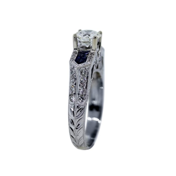 Sapphire and Diamond Engagement Ring GIA