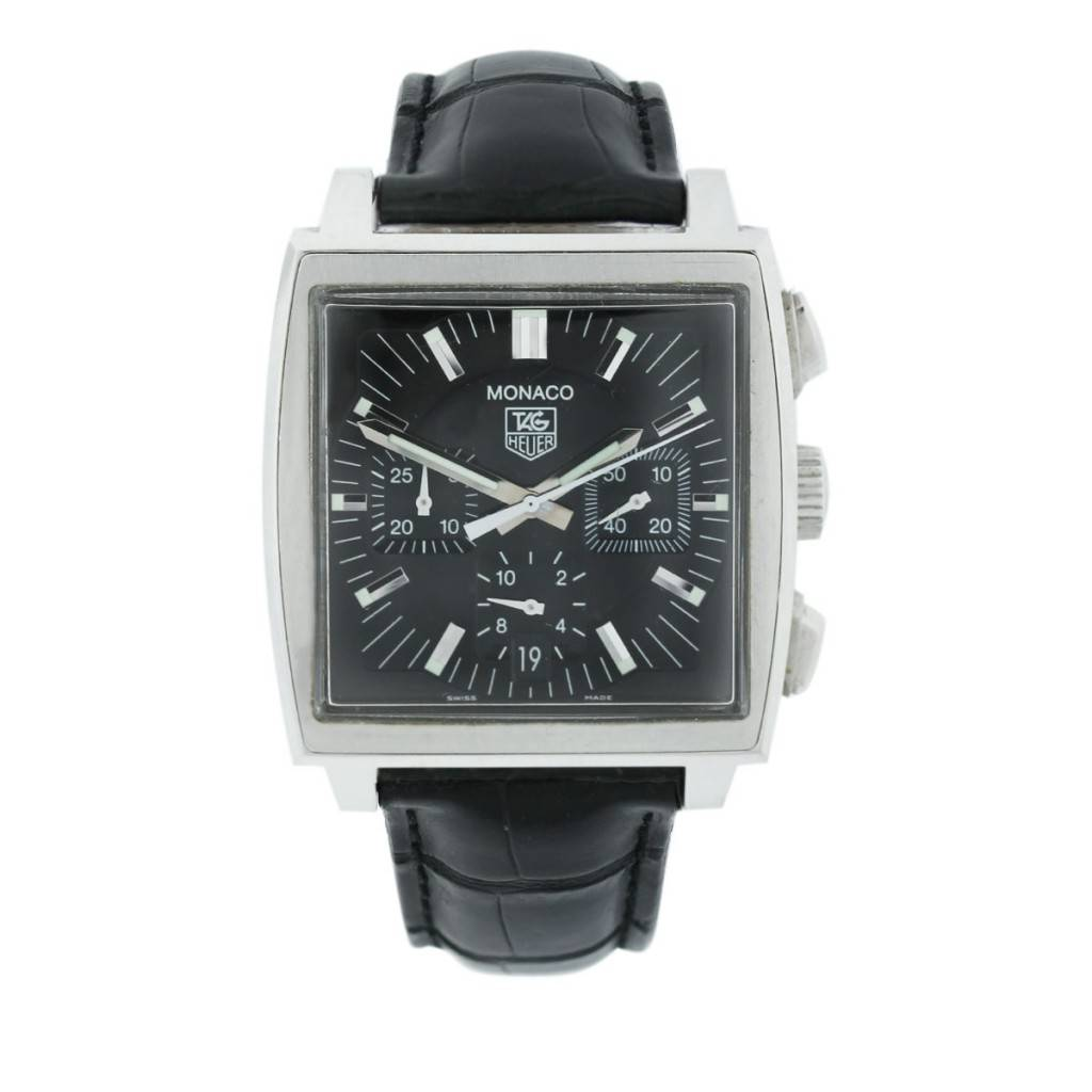 tag heuer monaco cw2111 0 chronograph black dial black. Black Bedroom Furniture Sets. Home Design Ideas