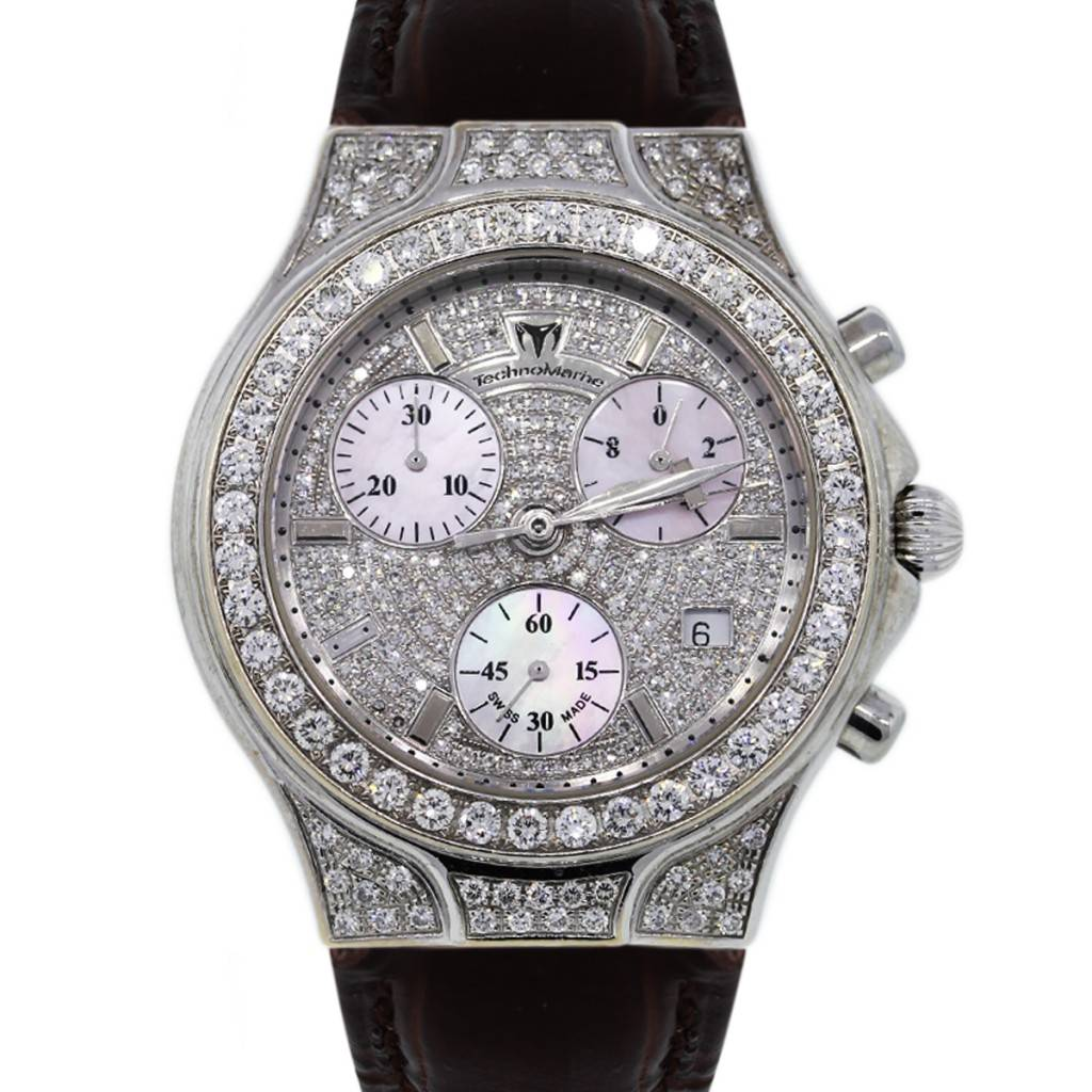 Technomarine diva no 0042 all diamond watch on leather strap for Technomarine watches