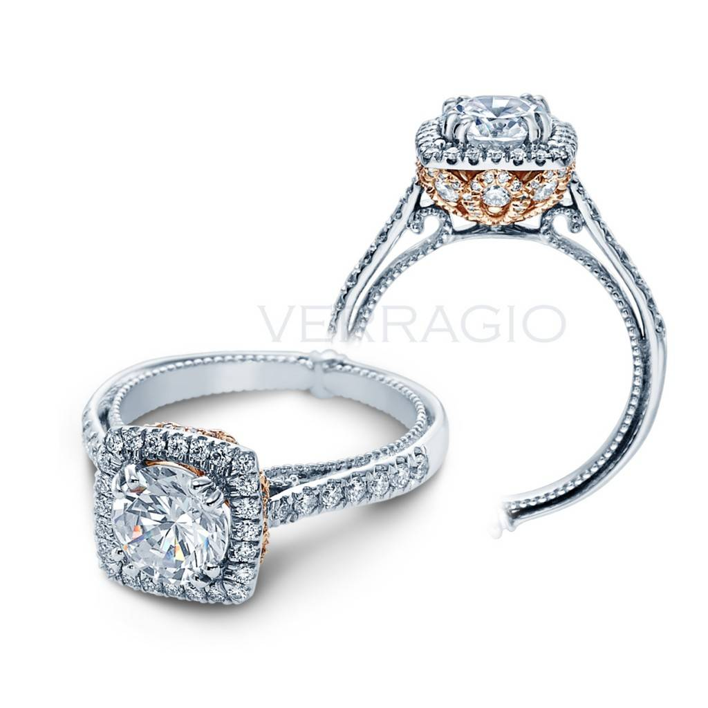 Verragio Square Halo Engagement Ring with Rose Gold